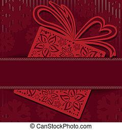 caixa, vermelho, presente