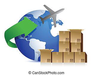 caixas, avião, despacho