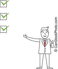 caixas, homem, caricatura, apontar, cheque