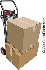 caixas, pallet, truck., vetorial, mão