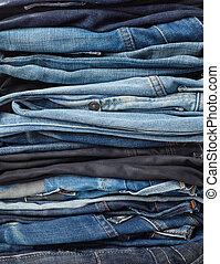 calças brim, pilha, fundo