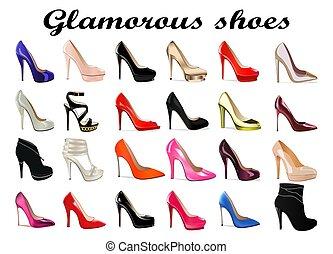 calcanhar alto, jogo, fascinante, femininas, sapatos, ilustração