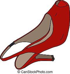 calcanhar alto, vermelho, sapato