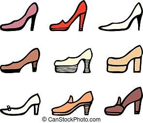 calcanhares, alto, jogo, sapatos, femininas