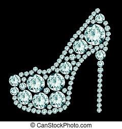 calcanhares altos, diamonds., feito, sapato