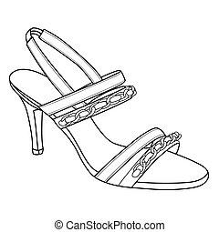 calcanhares altos, esboço, sapatos, elegância