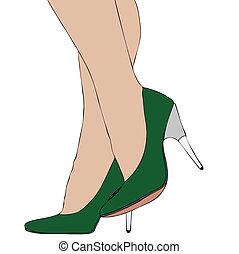 calcanhares altos, pernas