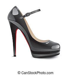 calcanhares altos, pretas, sapatos