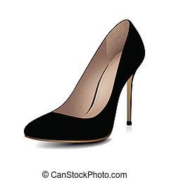 calcanhares altos, sapato preto