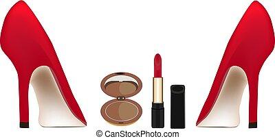 calcanhares altos, sapatos, vermelho, cosméticos