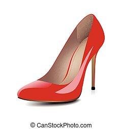 calcanhares altos, sapatos, vermelho