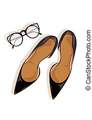 calcanhares altos, stiletto, pretas, sapatos