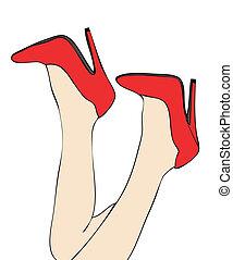 calcanhares altos, vermelho