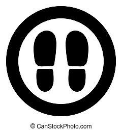 calcanhares, pretas, ícone, redondo, sapatos, rastros, cor, ou, círculo