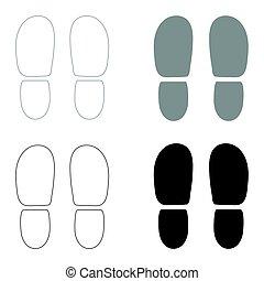 calcanhares, pretas, cinzento, ícone, sapatos, jogo, rastros, cor