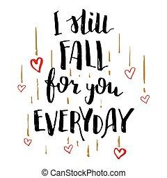 caligrafia, amor, outono, tu, ainda, todos os dias, cartão