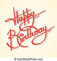 caligrafia, aniversário, feliz