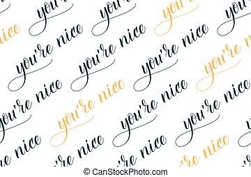 caligrafia, tu, seamless, agradável, escova
