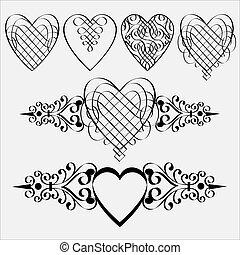 calligraphic, corações