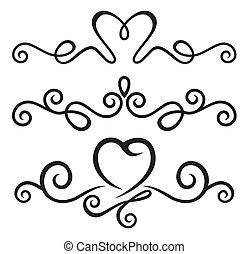 calligraphic, elementos, floral