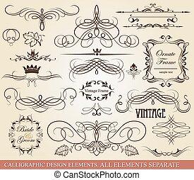 calligraphic, elements., desenho