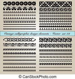 calligraphic, vindima, elementos, desenho
