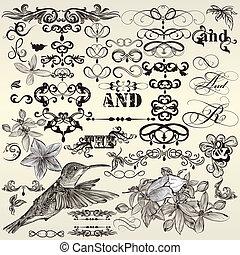 calligraphic, vindima, jogo, vetorial