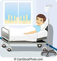 cama hospital, homem
