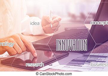 camada, conceito, negócio, trabalhando, modernos, efeito, mão, digital, homem negócios, estratégia, tecnologia
