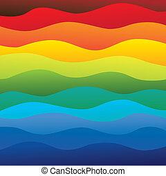 camadas, arco íris, coloridos, &, este, vibrante, abstratos, contém, -, espectro, ilustração, água oceano, cores, vetorial, liso, fundo, ondas, (backdrop), graphic.
