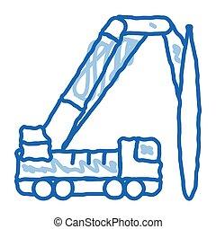 caminhão, ícone, doodle, desenhado, ilustração, mão, montado, guindaste