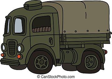 caminhão, antigas, verde, militar