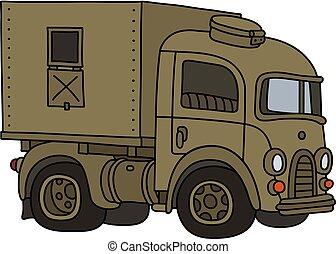 caminhão, areia, antigas, militar