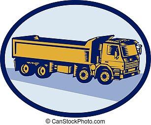 caminhão basculante, oval, woodcut