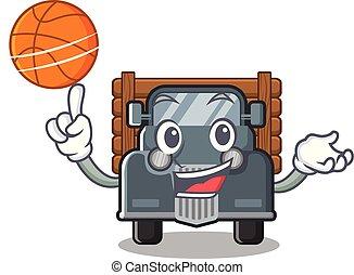 caminhão, basquetebol, antigas, isolado, caricatura