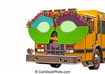 caminhão bombeiros, parada, óculos
