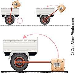 caminhão, carga, carregando