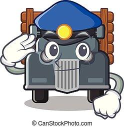caminhão, caricatura, antigas, isolado, polícia