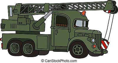 caminhão, engraçado, militar, guindaste, clássicas