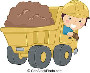caminhão, entulho, criança