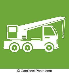 caminhão, guindaste, montado, verde, ícone