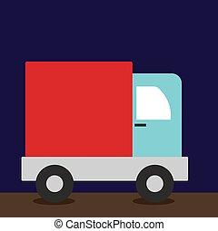 caminhão, ilustração, branca, vetorial, experiência.