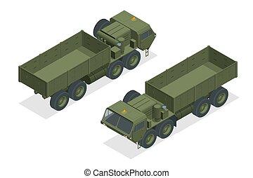 caminhão, militar, diesel, engine-powered, branca, isometric, trator, tanque, artilharia, isolado