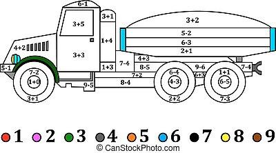 caminhão, numérico, antigas, exampl