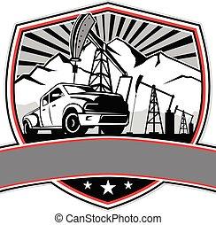 caminhão pick-up, óleo, emblema, derrick, escudo, retro