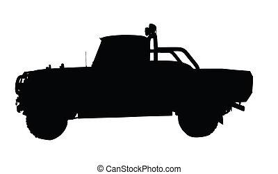 caminhão pick-up, vindima, 4x4, silueta