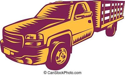 caminhão pick-up, woodcut