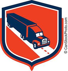caminhão, recipiente, escudo, reboque, retro