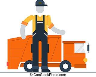 caminhão, recipiente, lixo