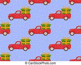 caminhão, retro, snow., presente, box.falling, vermelho, pickup, verde